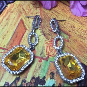 Jewelry - Earrings Drops Canary Yellow Rhinestone SHINE EUC